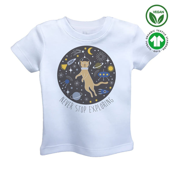 CAT IN SPACE Organic Aegean Cotton Unisex Kids T-shirt