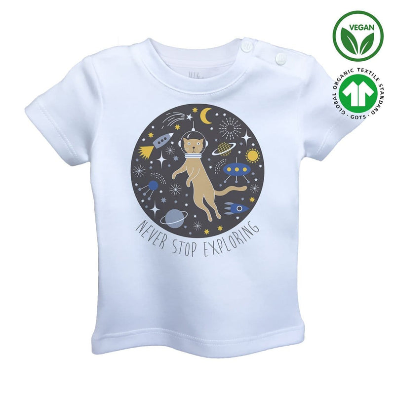 CAT IN SPACE Organic Aegean Cotton Unisex Baby T-shirt
