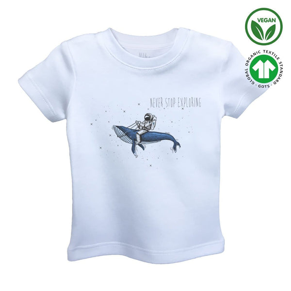 RIDING in the SPACE Organic Aegean Cotton Unisex Kids T-shirt