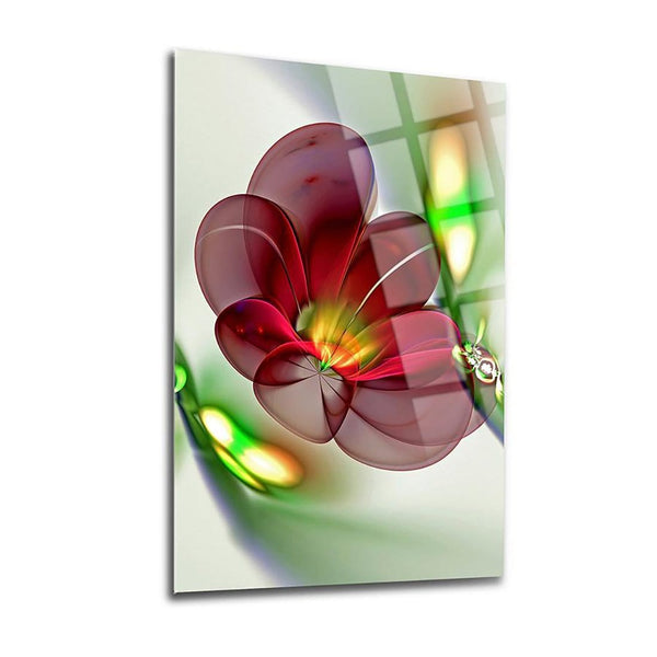Burgundy Begonia Glass Print Wall Art