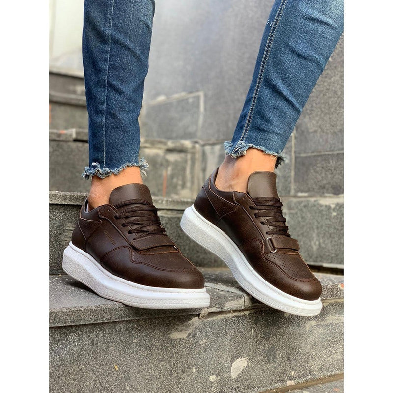 White Sole Men's Shoes Brown