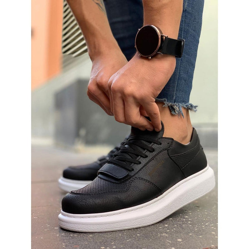 White Sole Men's Shoes Black