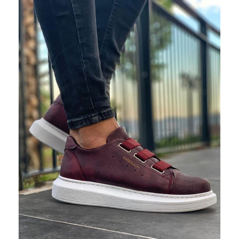 White Sole Men's Shoes Burgundy