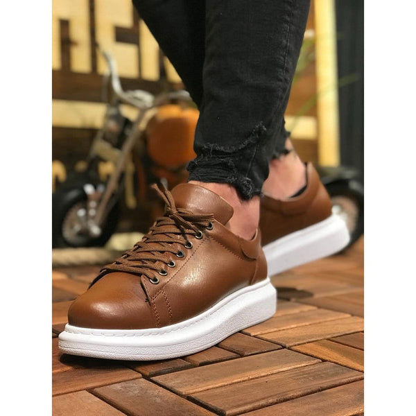 White Sole Men's Shoes Tan Color