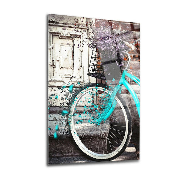 Flower Bicycle Glass Print Wall Art