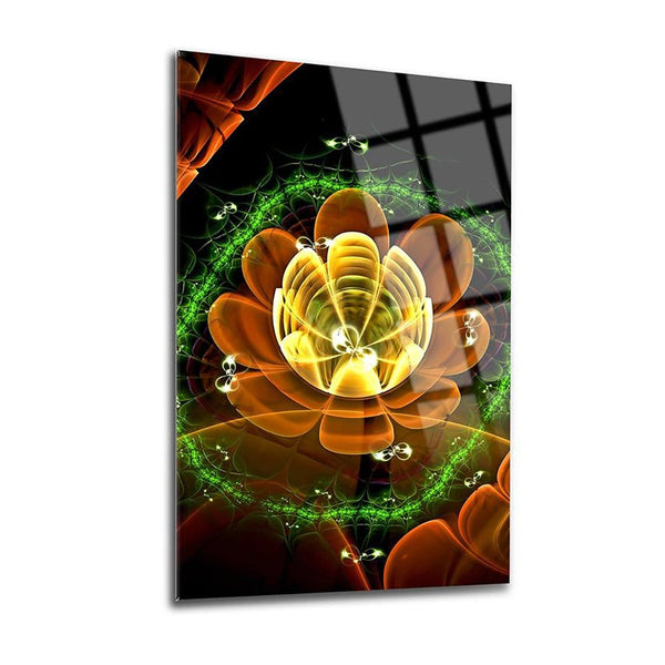 Flower Waves Glass Print Wall Art