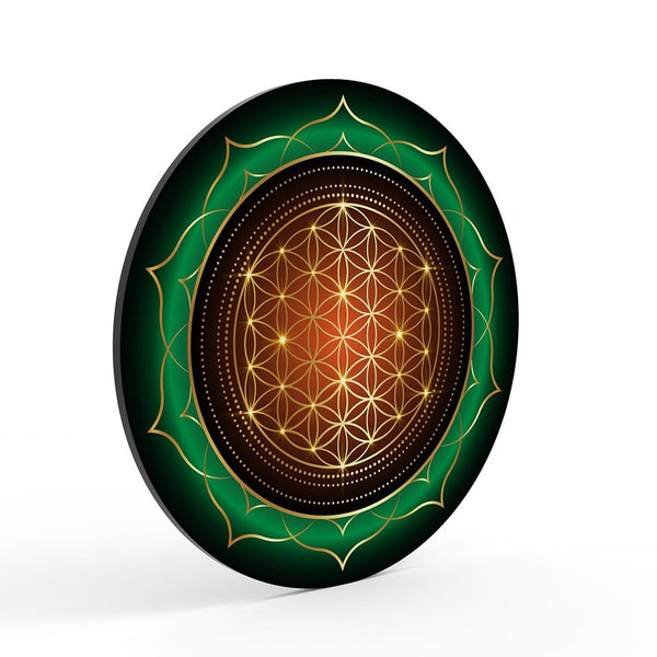 Green Round Pattern Glass Print Wall Art