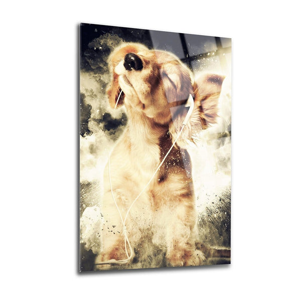 Listening Dog Glass Print Wall Art