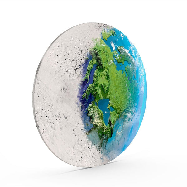 Moon & World Glass Print Wall Art