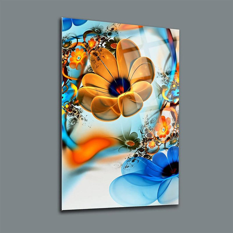 Orange & Blue Flowers Glass Print Wall Art