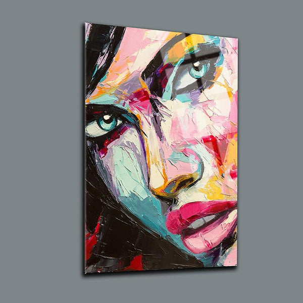 Pink Woman Glass Print Wall Art