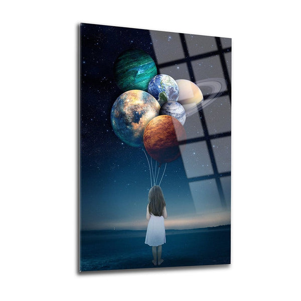 Planet Balloons Glass Print Wall Art