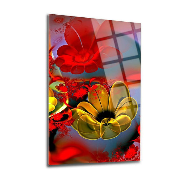 Red&Yellow Flowers Glass Print Wall Art