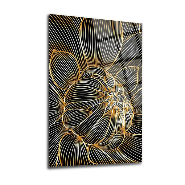 Striped Leaves Glass Print Wall Art