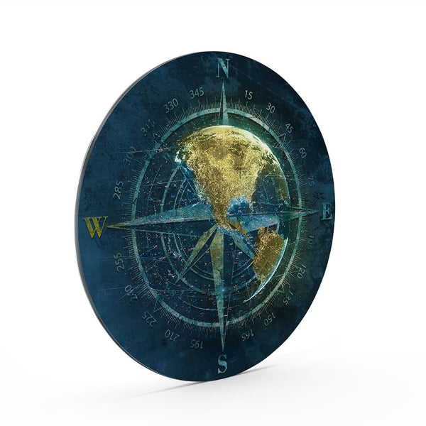 World Compass Glass Print Wall Art