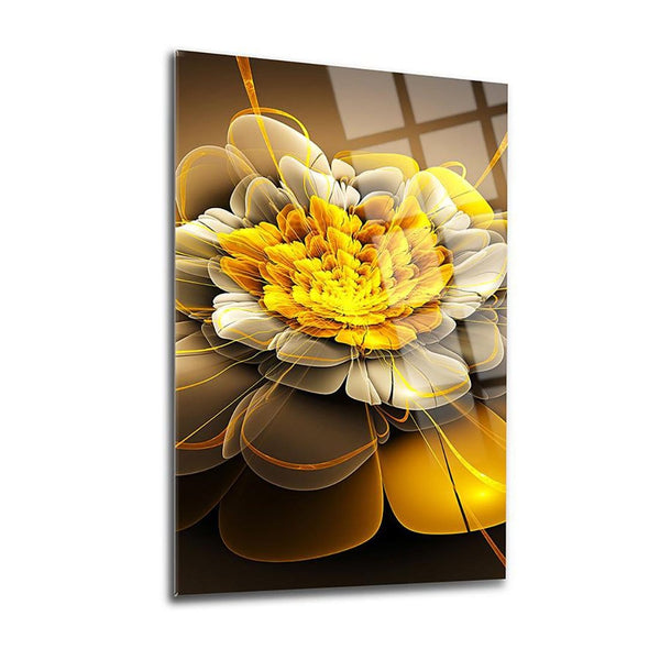 Yellow Leaves Glass Print Wall Art