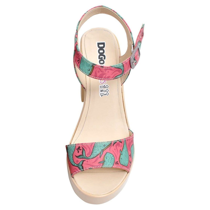 Whales in Pink Dogo Women's Heel Shoesimage4