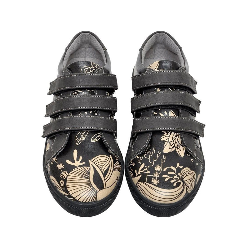 Black Floral Dogo Women's Flat Shoesimage2