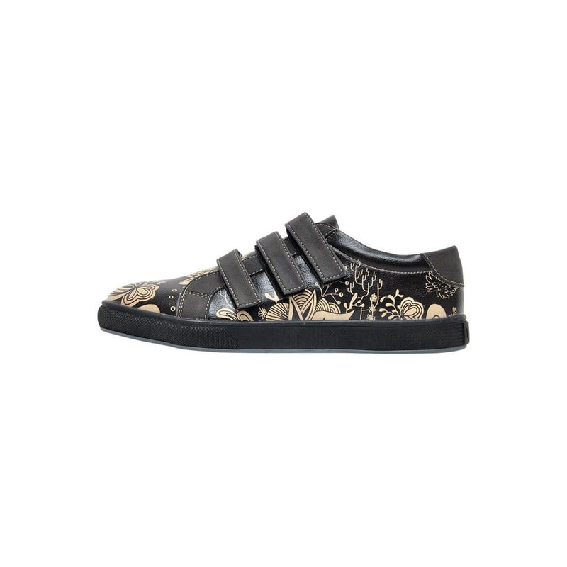 Black Floral Dogo Women's Flat Shoesimage3