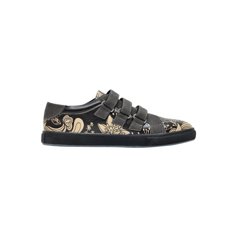 Black Floral Dogo Women's Flat Shoesimage4