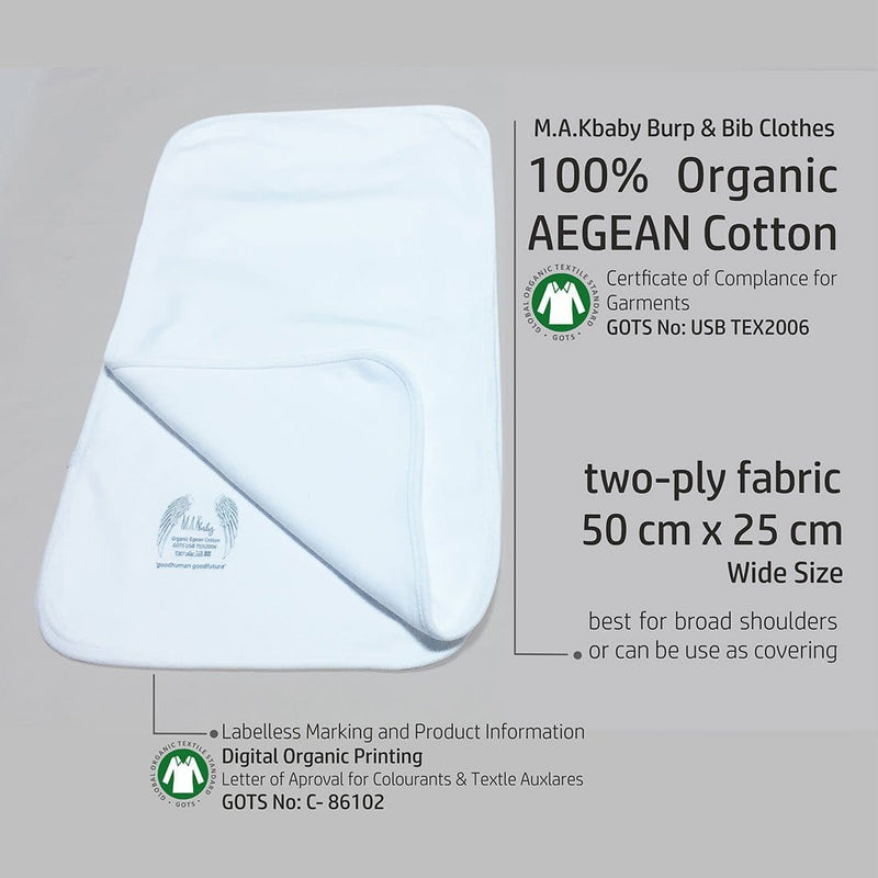 Organic Aegean Cotton TWO-PLY Burp Clothes Set 3 Pack + GIFT 3  Handkerchief