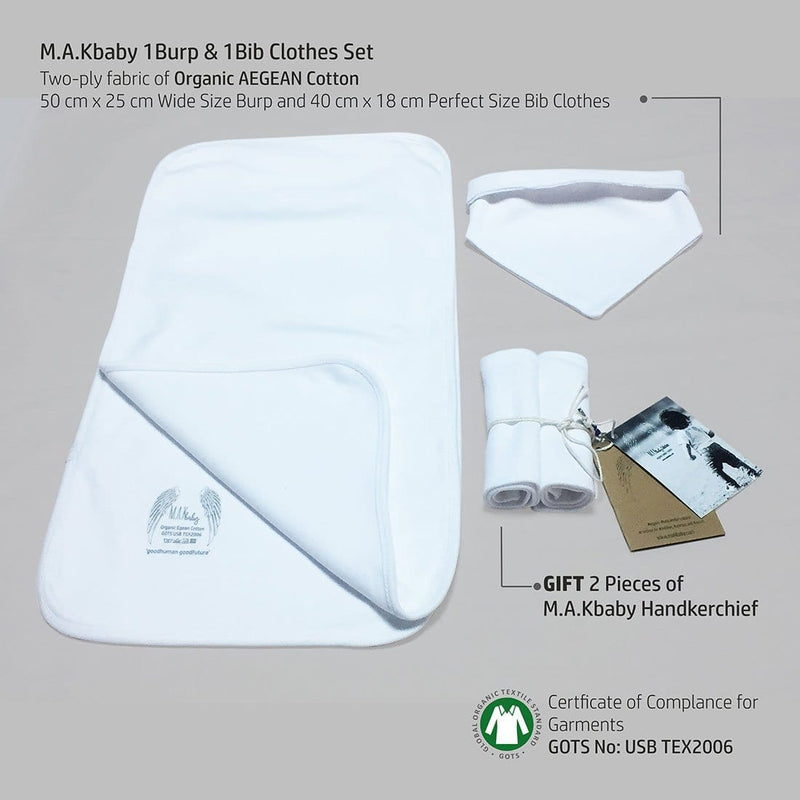 Organic Aegean Cotton TWO-PLY Burp & Bip Clothes Set + GIFT 2  Handkerchief