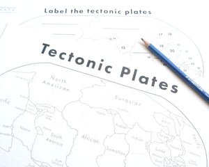 Tectonic plates map worksheet