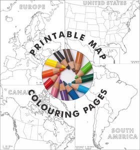 Map colouring pages for kids