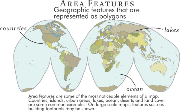 Area features are some of the most noticeable elements of a map. Countries, islands, urban areas, lakes, ocean, deserts and land cover are some common examples. On large scale maps, features such as building footprints may be shown.