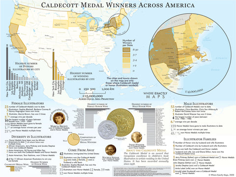 A map showing the distribution of Caldecott Medal Winners Across America. Cartography by Where Exactly Maps