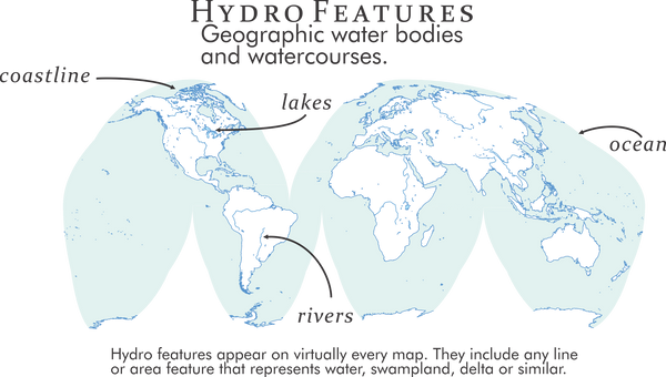 Hydro features appear on virtually every map. They include any line or area feature that represents water, swampland, delta or similar.