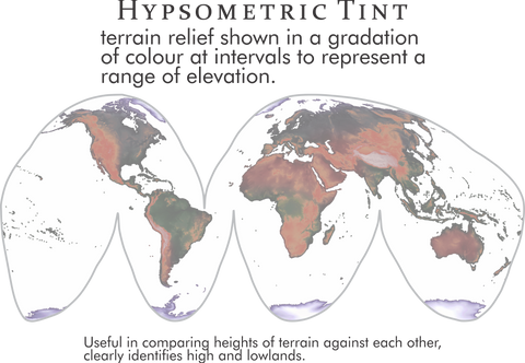 Hypsometric tint is useful in comparing heights of terrain against each other, clearly identifies high and lowlands.