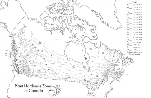 Plant hardiness zone colouring map