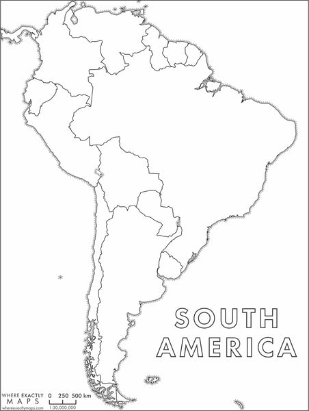 Blank colouring map of South America by Where Exactly Maps