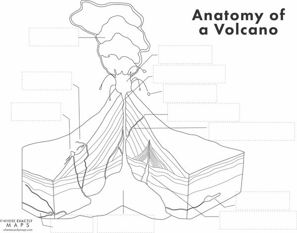 A page of a worksheet on volcanoes by where exactly maps showing a blank diagram of a strato volcano