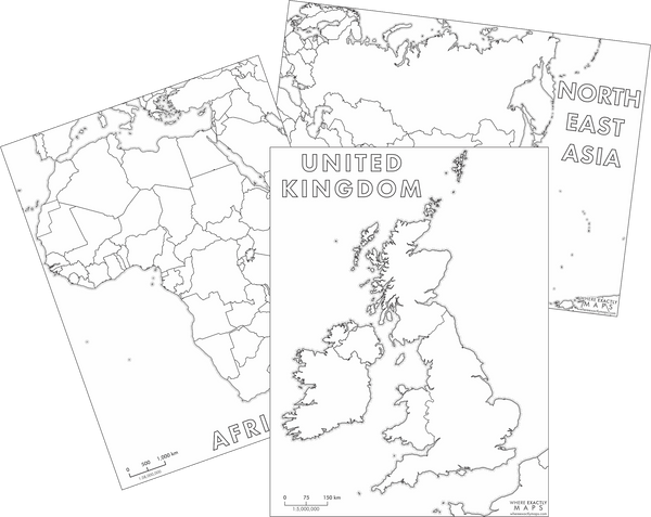 Blank colouring maps of Africa, United Kingdom, and North East Asia by Where Exactly Maps