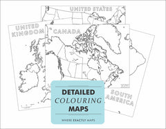 Image linking to detailed coloring map colouring pages of Canada, Europe, South America, United States, United Kingdom, and Asia
