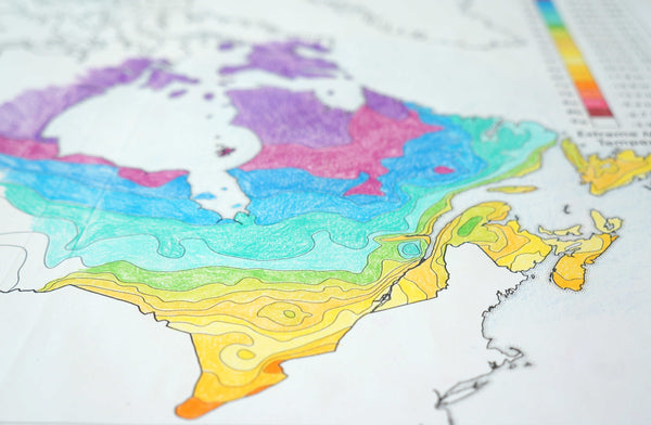 Plant hardiness zones of Canada colouring map by Where Exactly Maps