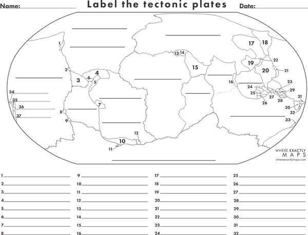Fill in the blanks tectonic plates printable worksheet. Each plate identified with numbers and blanks for labelling.