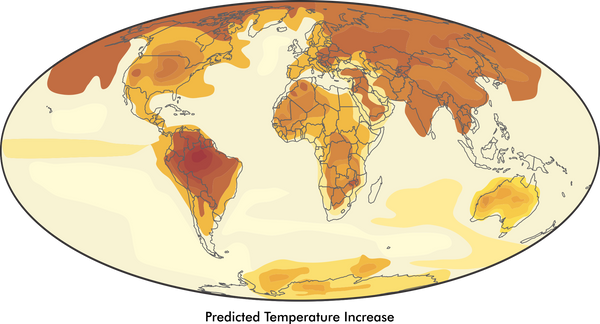 Thematic map showing isopleth example in temperature increases