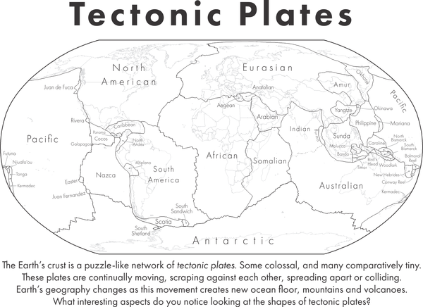 Printable tectonic plates map for students with all plates labelled