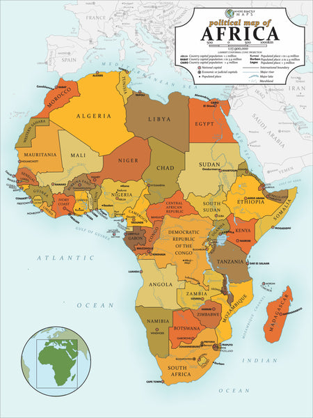 Political Map of Africa 70 piece jigsaw puzzle for kids by Where Exactly Maps