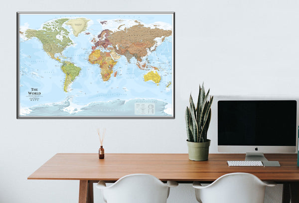 Where Exactly world map on an office wall