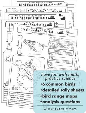 Practice statistics and science with Bird Feeder Statistics worksheet by Where Exactly Maps. Set of Worksheets include 6 common birds, detailed tally sheets, bird range maps and analysis questions