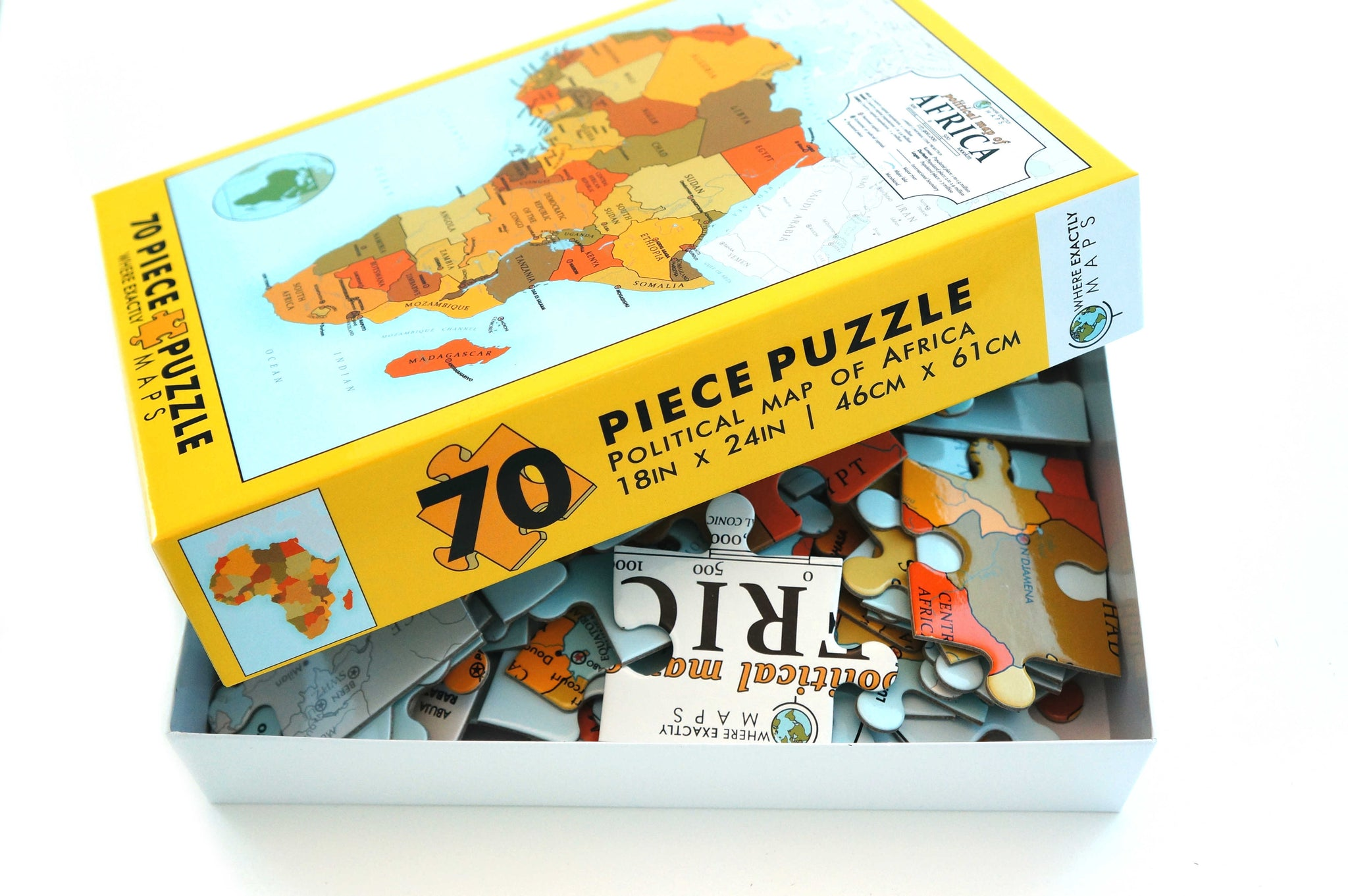 70 piece jigsaw puzzle showing political map of Africa for kids