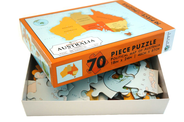 Political Map of Australia 70 piece jigsaw puzzle for kids by Where Exactly Maps
