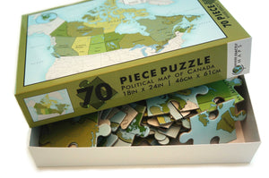 70 piece map puzzle of Canada for children by Where Exactly Maps