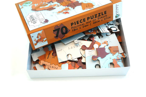 Political Map of Europe 70 piece jigsaw puzzle for kids by Where Exactly Maps
