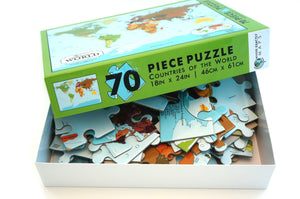 70 piece map puzzle of The World for children by Where Exactly Maps