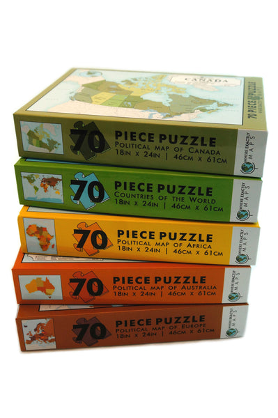 Collection of five 70 piece jigsaw puzzles featuring different maps of countries by Where Exactly Maps